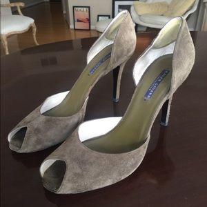 Ralph Lauren Collection Suede Peep Toe Heels